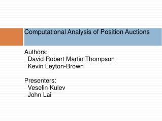 Computational Analysis of Position Auctions