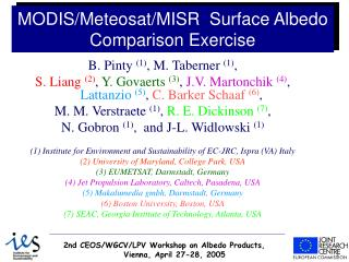 MODIS/Meteosat/MISR  Surface Albedo Comparison Exercise