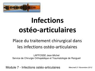 Infections  ost�o-articulaires