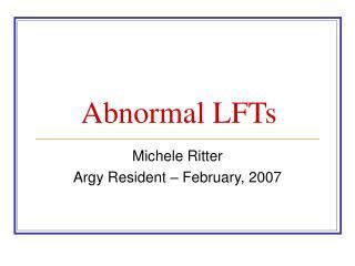 Abnormal LFTs