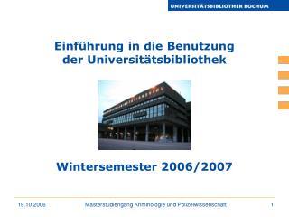 Einführung in die Benutzung der Universitätsbibliothek