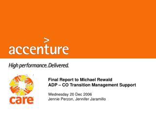 Final Report to Michael Rewald ADP   CO Transition Management Support