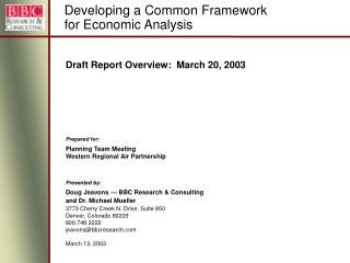 Draft Report Overview:  March 20, 2003 Prepared for:
