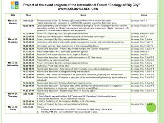 "Project of the event program of the International Forum ""Ecology of Big City"""