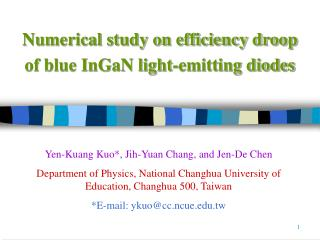 Numerical study on efficiency droop of blue InGaN light-emitting diodes