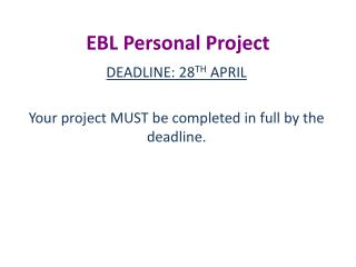 EBL Personal Project