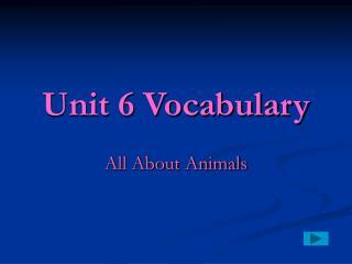 Unit 6 Vocabulary