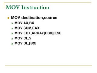 MOV Instruction