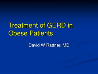Treatment of GERD in Obese Patients