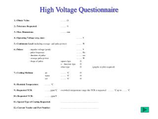 High Voltage Questionnaire