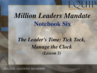 Million Leaders Mandate Notebook Six