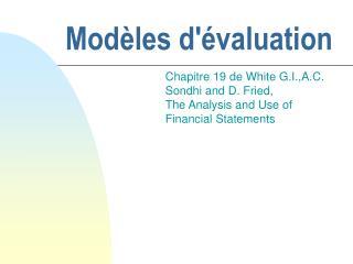 Modèles d'évaluation