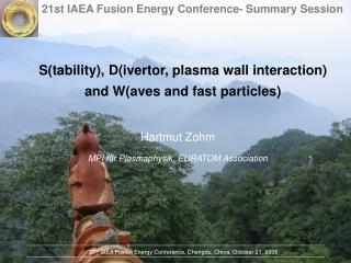S(tability), D(ivertor, plasma wall interaction) and W(aves and fast particles)