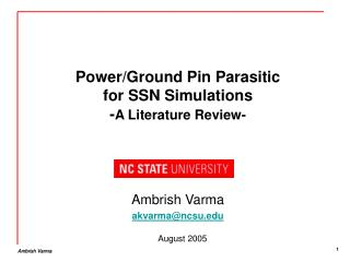Power/Ground Pin Parasitic for SSN Simulations  - A Literature Review-