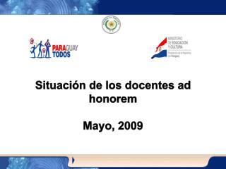 Situación de los docentes ad honorem Mayo, 2009