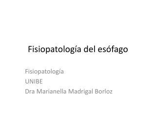 Fisiopatología del esófago