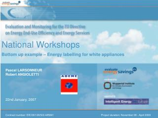 National Workshops Bottom up example – Energy labelling for white appliances
