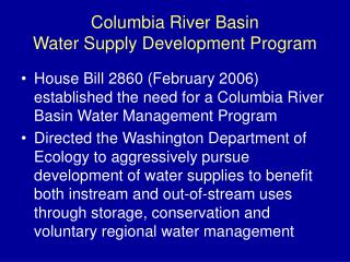 Columbia River Basin Water Supply Development Program