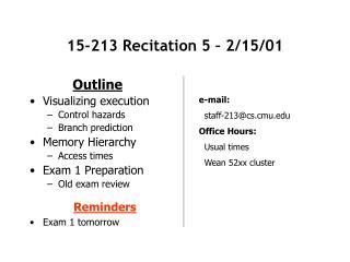 15-213 Recitation 5 – 2/15/01