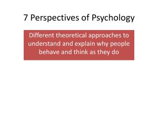 7 Perspectives of Psychology