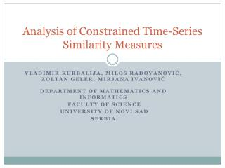 Analysis of Constrained Time-Series Similarity Measures