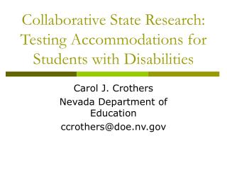 Collaborative State Research: Testing Accommodations for Students with Disabilities