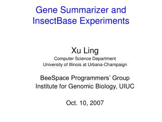 Gene Summarizer and  InsectBase Experiments