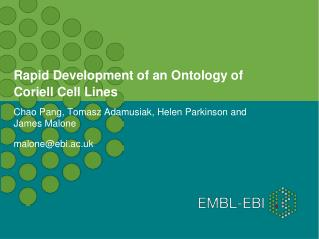 Rapid Development of an Ontology of Coriell Cell Lines