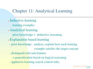 Chapter 11:  Analytical Learning