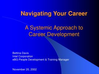 Navigating Your Career  A Systemic Approach to Career Development