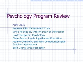 Psychology Program Review
