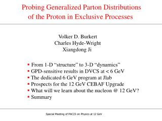 Probing Generalized Parton Distributions  of the Proton in Exclusive Processes