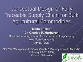 Conceptual Design of Fully Traceable Supply Chain for Bulk Agricultural Commodities