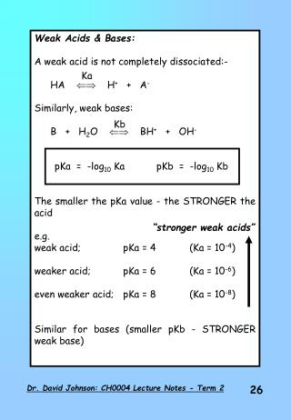 Weak Acids & Bases: A weak acid is not completely dissociated:- 	HA          H +    +   A -
