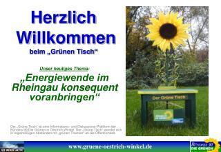 """Herzlich  Willkommen beim """"Grünen Tisch"""""""