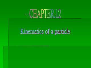 Kinematics of a particle