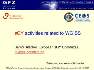 e GY  activities related to WGISS