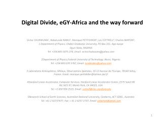 Digital Divide, eGY-Africa and the way forward