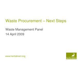 Waste Procurement – Next Steps