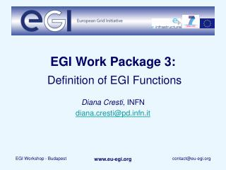 EGI Work Package 3: Definition of EGI Functions