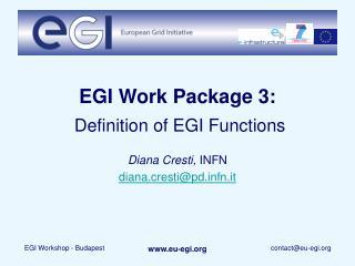 EGI Work Package 3: Definition of EGI Functions