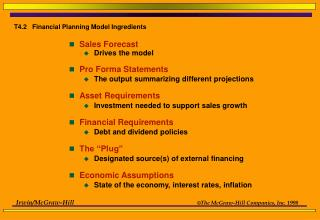 T4.2   Financial Planning Model Ingredients