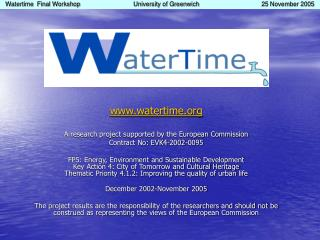 watertime A research project supported by the European Commission