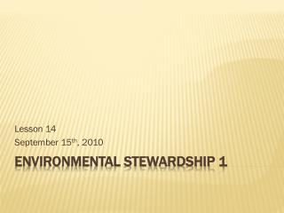 Environmental Stewardship 1