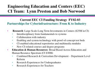 Engineering Education and Centers (EEC)  CI Team:  Lynn Preston and Bob Norwood