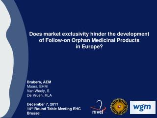 Does market exclusivity hinder the development of Follow-on Orphan Medicinal Products  in Europe?