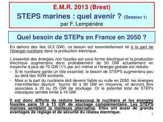 Quel besoin de STEPs en France en 2050 ?