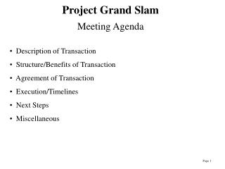 Project Grand Slam Meeting Agenda