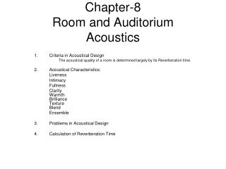 Chapter-8 Room and Auditorium  Acoustics