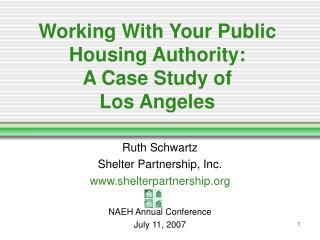 Working With Your Public Housing Authority:  A Case Study of  Los Angeles
